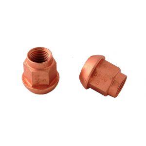 12 X 1,25 ex 17mm, o.d. 25mm Steel Coppered Nut Bol Conisch